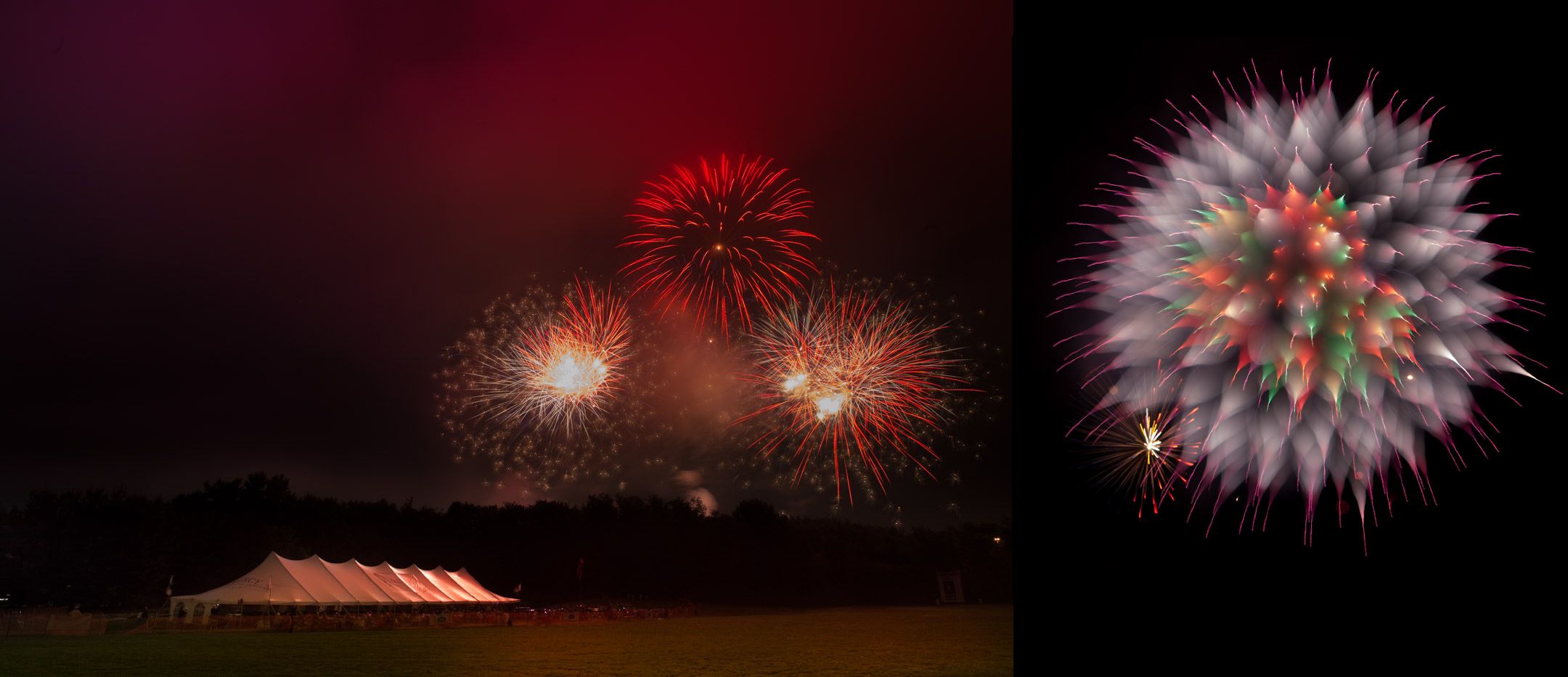 A more traditional fireworks photo (right) and a trick of focus fireworks shot (left)